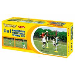 BADMINTON, VOLLEYBALL AND TENNIS GAME SET OUTDOOR PLAY 3-IN-1