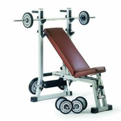 UNIVERSAL BENCH WITH BARBELL STAND TECHNOGYM PRATICA