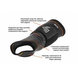 SHOCK DOCTOR COMPRESSION WRIST-HAND SLEEVE WITH GEL SUPPORT AND STRAP