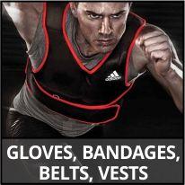Gloves, bandages, belts, vests